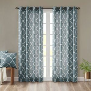 Dusty blue patterned curtains set
